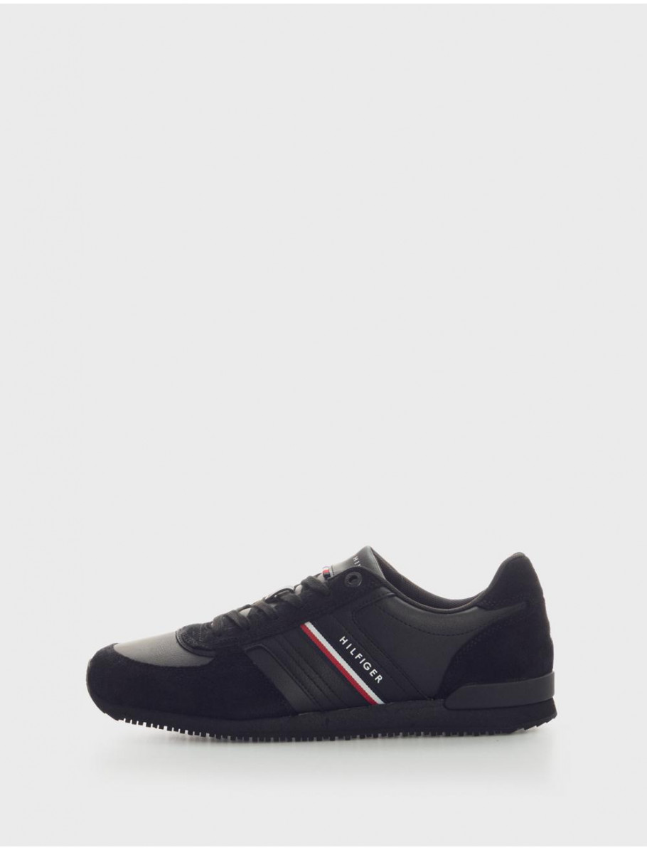 ZAPATILLAS ICONIC RUNNER  LEATHER MIX NEGRO